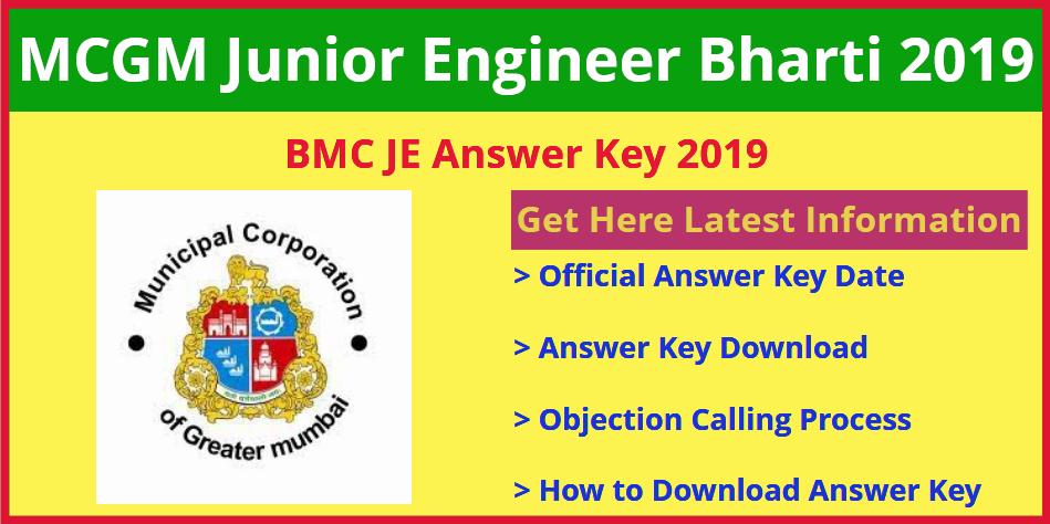MCGM JE Civil Answer Key 2019