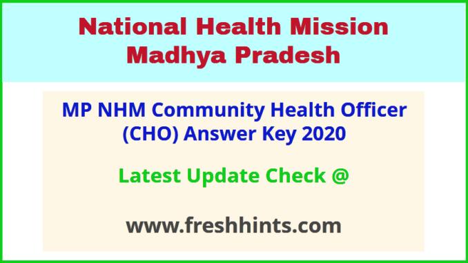 Madhya Pradesh Community Health Officer Answer Sheet 2020