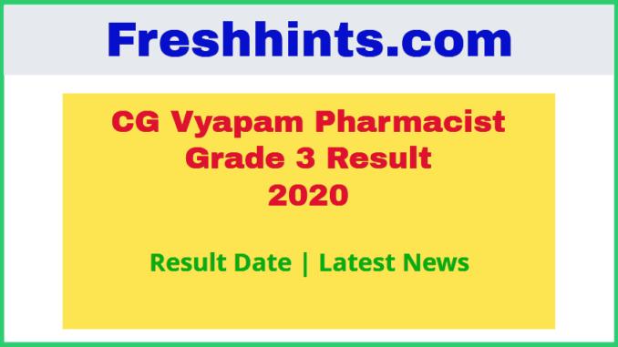 CG Vyapam Pharmacist Grade 3 Result 2020