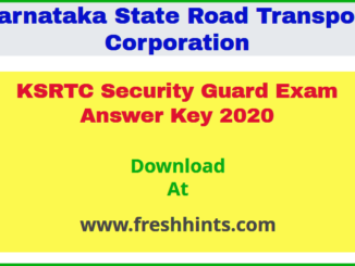 KSRTC Security Guard Exam Answer Key 2020
