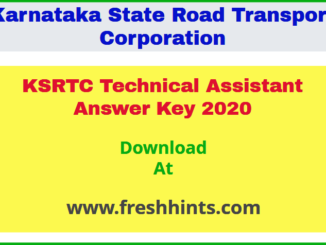 KSRTC TA Answer Key 2020