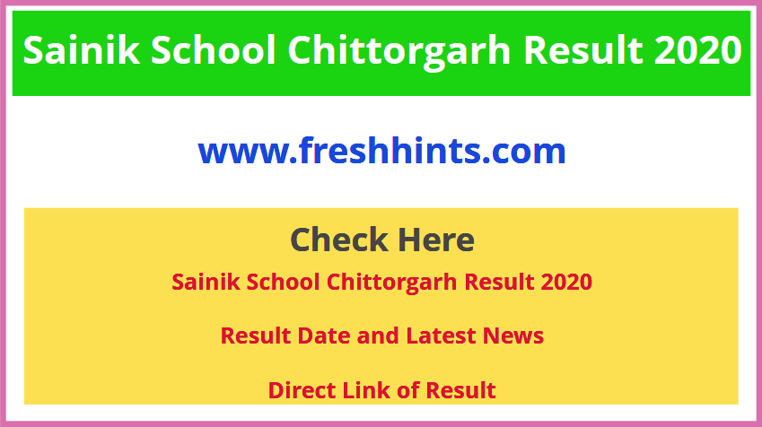 Sainik School Chittorgarh Entrance Exam Result 2020