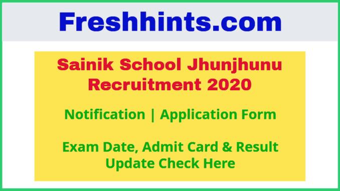 Sainik School Jhunjhunu Recruitment 2020