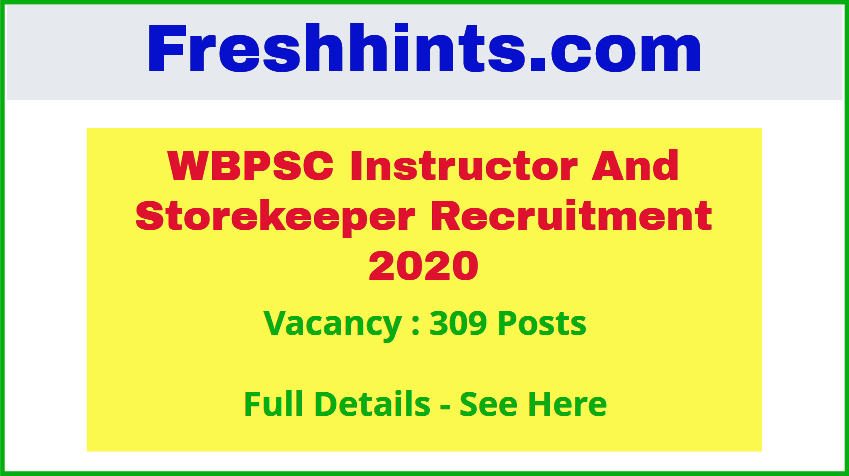 WBPSC Instructor Storekeeper Recruitment 2020