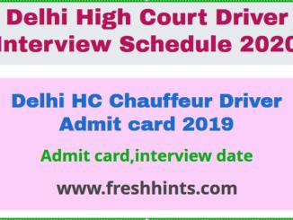 Delhi HC Chauffeur Driver Admit card 2019