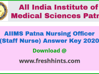 AIIMS Patna Nursing Officer Answer Key 2020