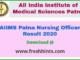 AIIMS Patna Nursing Officer Result 2020
