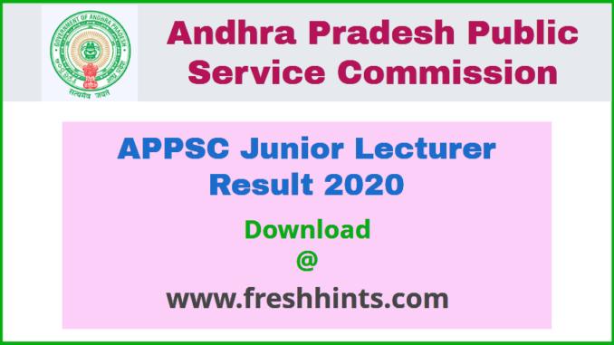 APPSC Junior Lecturer Result 2020