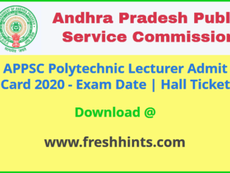 APPSC Polytechnic Lecturer Hall Ticket 2020