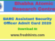 BARC Assistant Security Officer Admit Card 2020