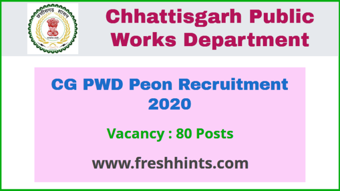 Chhattisgarh PWD Recruitment 2020