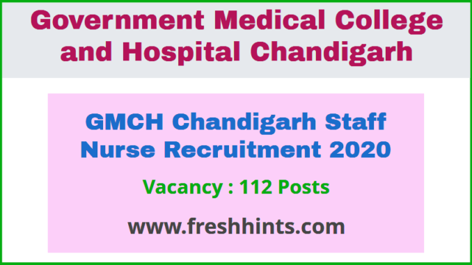 GMCH Chandigarh Staff Nurse Recruitment 2020