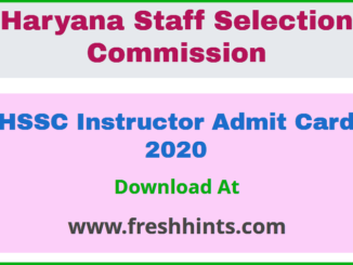 HSSC Instructor Admit Card 2020