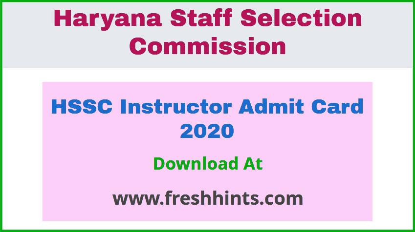 HSSC Instructor Admit Card 2020