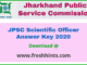 JPSC SO Answer Key 2020