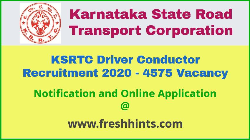 KSRTC Driver Conductor Recruitment 2020