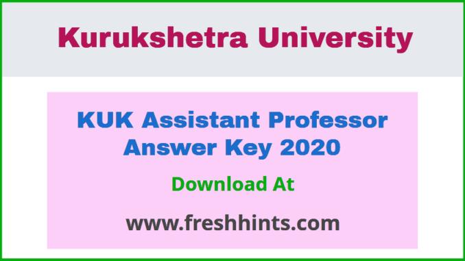 KU Assistant Professor Answer Key 2020