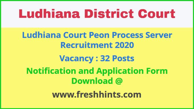 Ludhiana District Court Peon Process Server Recruitment 2020