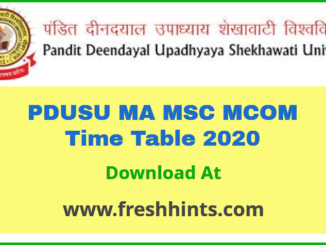 PDUSU MA MSC MCOM Time Table 2020