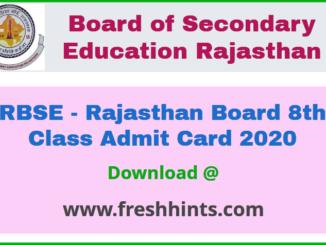 Rajasthan Board 8th Class Admit Card 2020