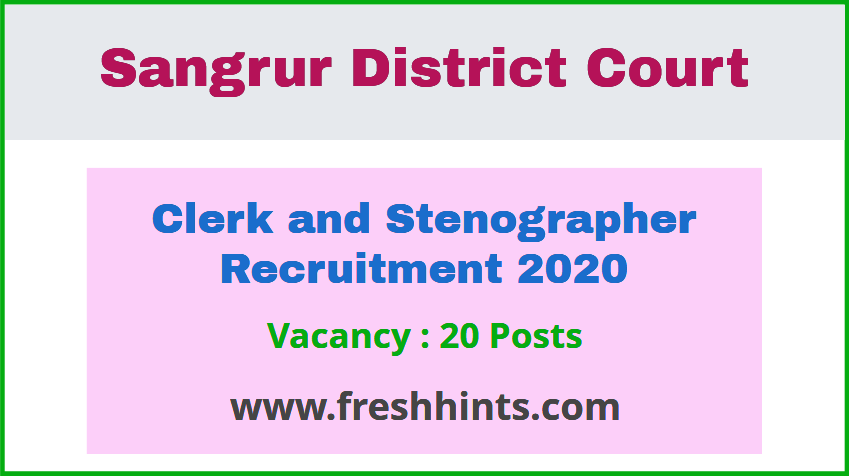 Sangrur District Court Clerk Stenographer Recruitment 2020