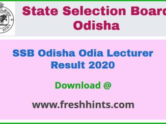 SSB Odisha Lecturer Result 2020
