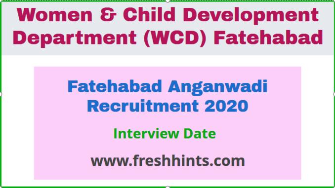 WCD Fatehabad Recruitment 2020