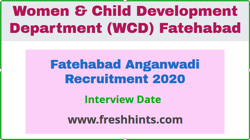 WCD Fatehabad Recruitment 2020