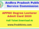 APPSC Degree Lecturer Hall Ticket 2020