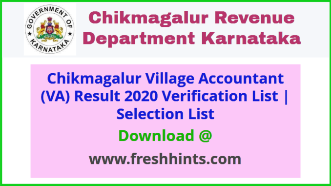 Chikmagalur Village Accountant Results 2020