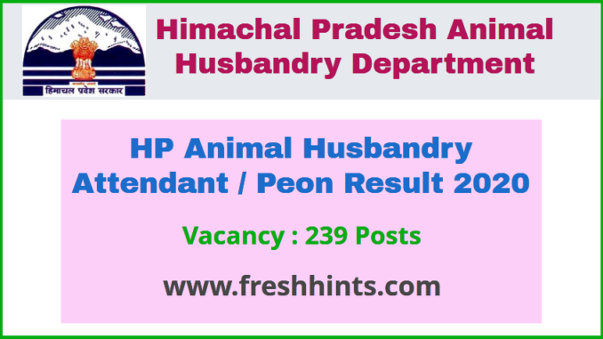 HP Animal Husbandry Attendant / Peon Result 2020