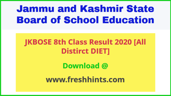 Jammu and Kashmir DIET 8th Class Board Result 2020