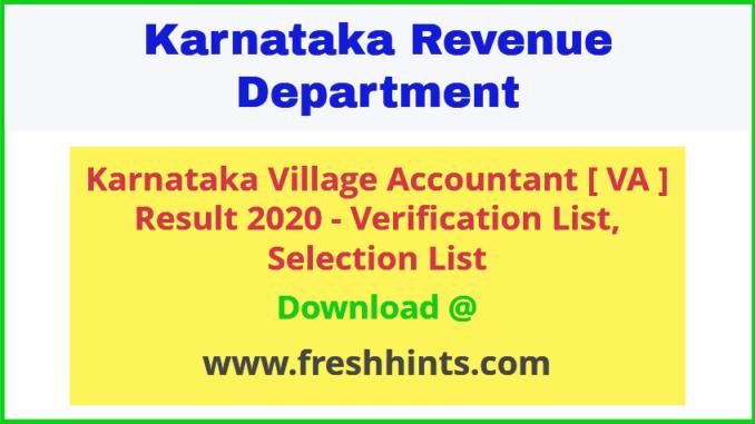 Karnataka VA Selection List 2020