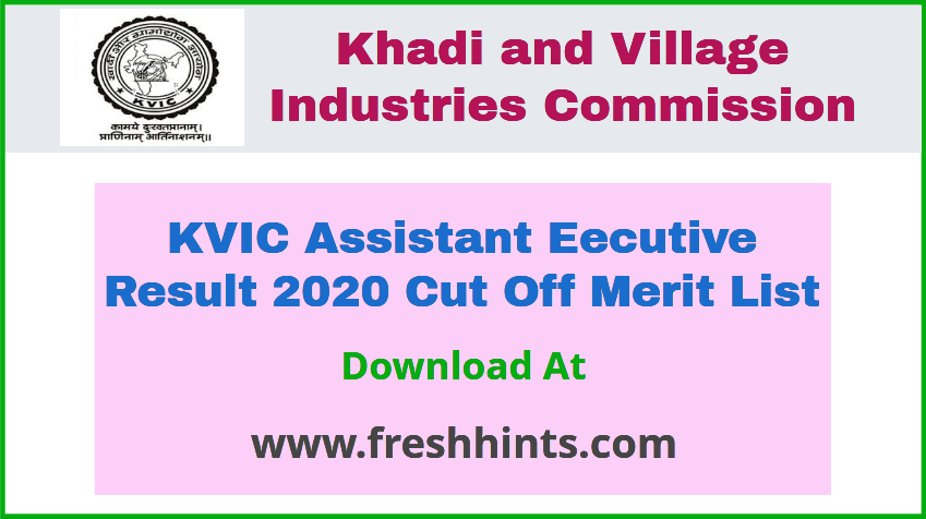 Khadi and Village Industries Executive Assistant Result 2020