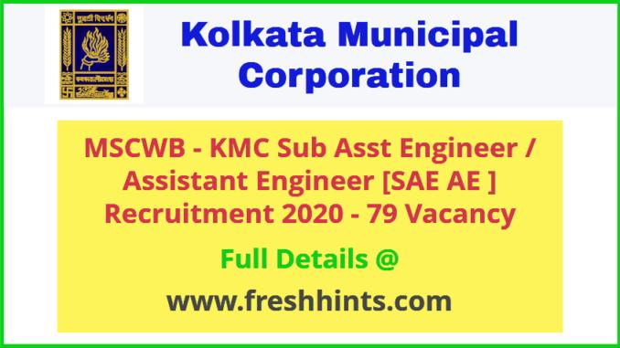 MSCWB - KMC Sub Assistant Engineer Recruitment 2020