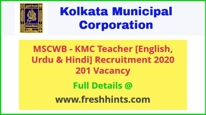 MSCWB Teacher English, Urdu and Hindi Recruitment 2020