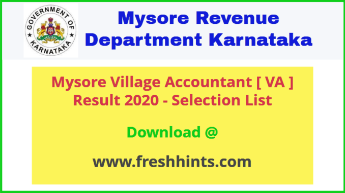 Mysore Village Accountant Results 2020