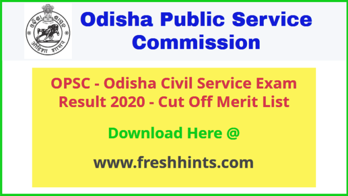 Odisha Civil Service Exam Result 2020