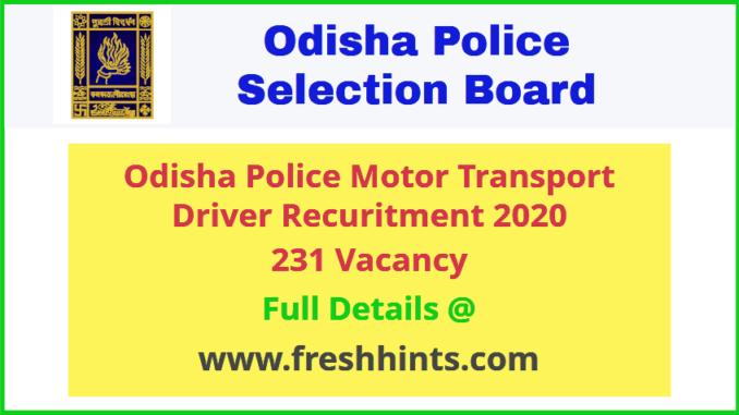 Odisha Police Motor Transport Driver Recuritment 2020