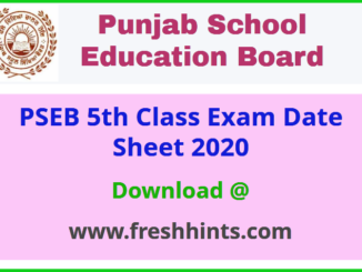 Punjab Board 5th Class Date Sheet 2020