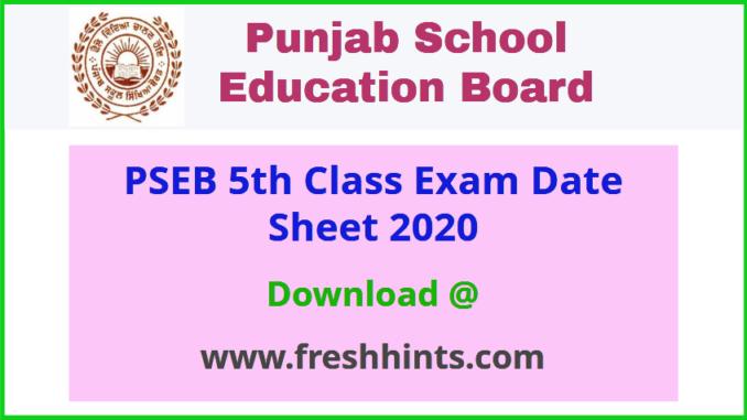 Punjab Board 5th Class Date Sheet 2020