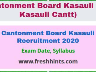 Cantonment Board Kasauli Recruitment
