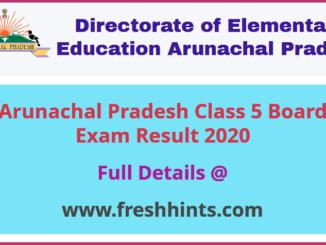 Arunachal Pradesh 5th Result 2020
