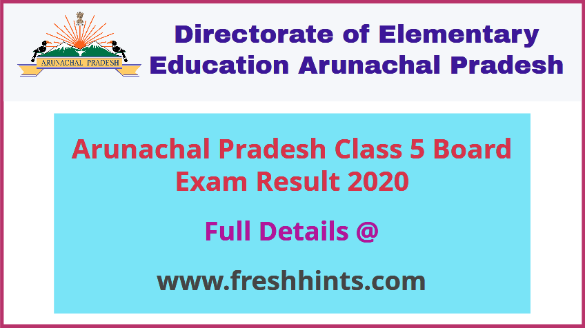 Arunachal Pradesh 5th Result 2020