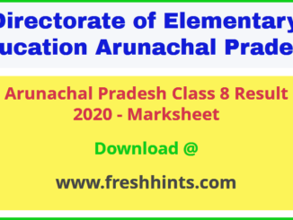 Arunachal Pradesh 8th Result 2020