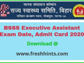 Bihar Swasthya Suraksha Samiti Executive Assistant Admit Card 2020