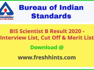 Bureau of Indian Standards Scientist B Result 2020