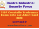 CISF CT Tradesman Admit Card 2020