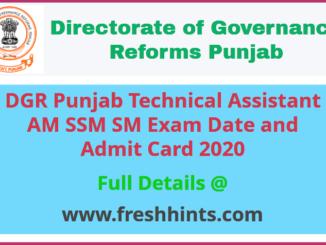 DGR Punjab TA AM SM SSM Admit Card 2020