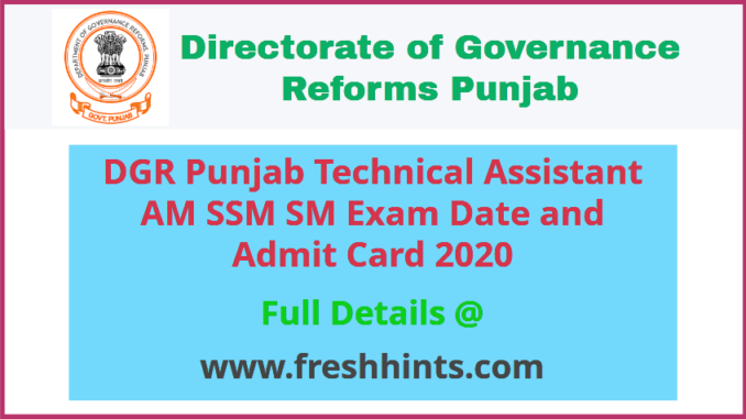 DGR Punjab TA AM SM SSM Admit Card 2020